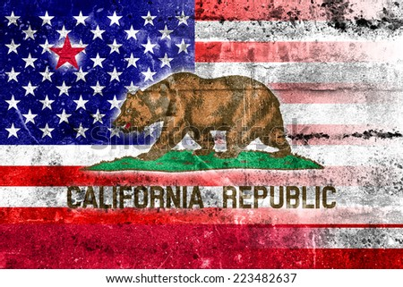 USA and California State Flag painted on grunge wall - stock photo