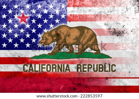 USA and California State Flag with a vintage and old look - stock photo