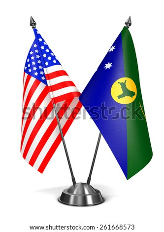 USA and Christmas Island - Miniature Flags Isolated on White Background. - stock photo