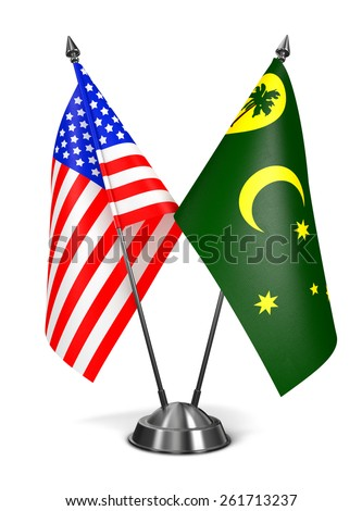 USA and Cocos Keeling Islands - Miniature Flags Isolated on White Background. - stock photo