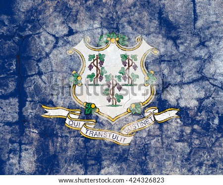 USA and Connecticut State Flag painted on grunge wall - stock photo