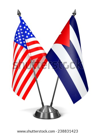 USA and Cuba - Miniature Flags Isolated on White Background. - stock photo