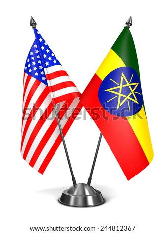 USA and Ethiopia - Miniature Flags Isolated on White Background. - stock photo