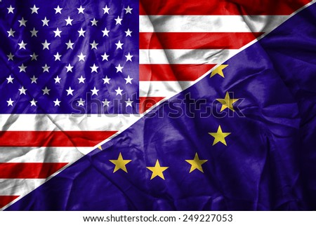 USA and EU flag - stock photo