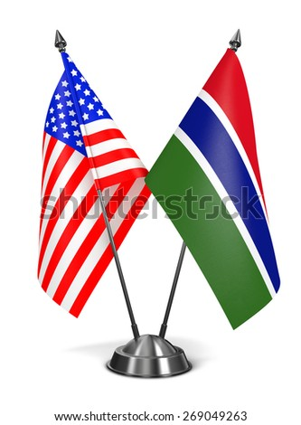 USA and Gambia - Miniature Flags Isolated on White Background. - stock photo