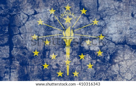 USA and Indiana State Flag painted on grunge wall - stock photo