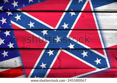 USA and Mississippi State Flag on wood background - stock photo