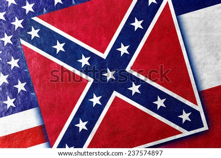 USA and Mississippi State Flag painted on leather texture - stock photo