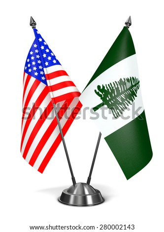 USA and Norfolk Island - Miniature Flags Isolated on White Background. - stock photo
