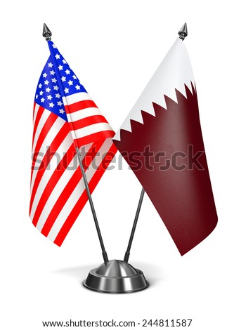 USA and Qatar - Miniature Flags Isolated on White Background. - stock photo