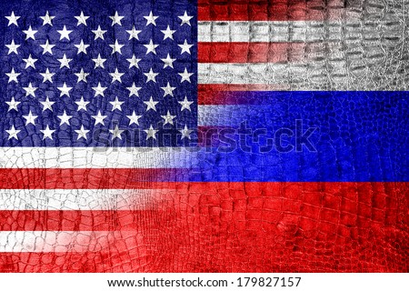 USA and Russia Flag painted on luxury crocodile texture - stock photo