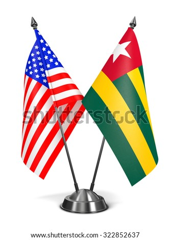USA and Togo - Miniature Flags Isolated on White Background. - stock photo