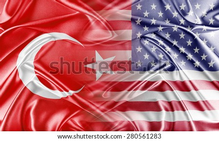 USA and Turkey.  Relations between two countries. Conceptual image. - stock photo