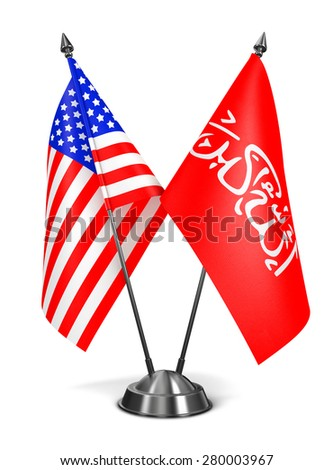 USA and Waziristan - Miniature Flags Isolated on White Background. - stock photo