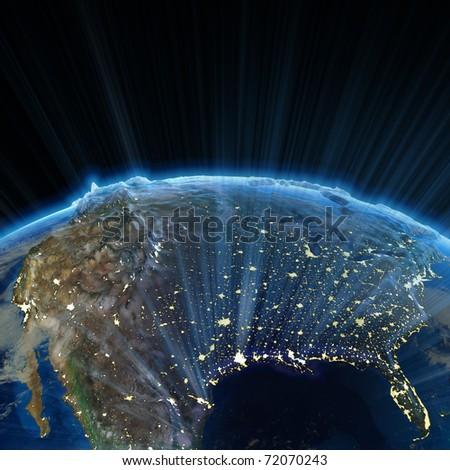 USA at night. Earth map from NASA - stock photo