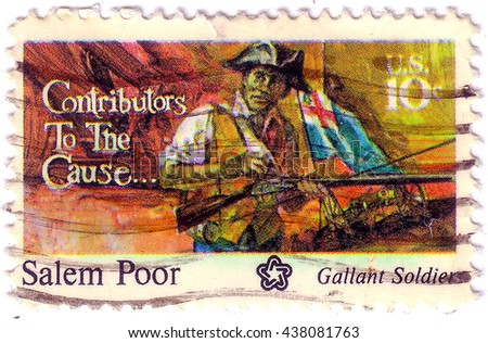 USA - CIRCA 1975: A postage stamp printed in the USA, dedicated to the American Bicentennial Contributors to the Cause, shows Salem Poor, circa 1975 - stock photo