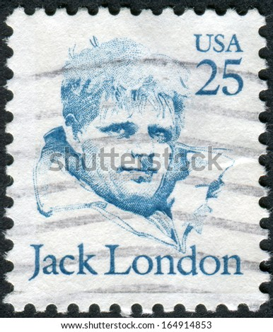 USA - CIRCA 1986: A postage stamp printed in USA, shows a portrait of an American author, journalist, and social activist, Jack London, circa 1986 - stock photo