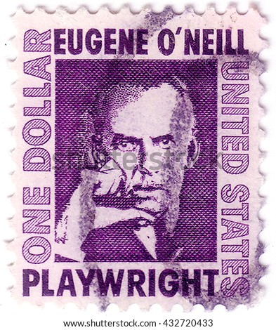 USA - CIRCA 1967: A postage stamp printed in USA, shows an Irish American playwright and Nobel laureate in Literature, Eugene Gladstone O'Neill, circa 1967 - stock photo