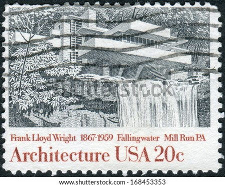 USA - CIRCA 1982: A postage stamp printed in USA, shows Fallingwater, Mill Run, Pennsylvania, by Frank Lloyd Wright, circa 1982 - stock photo