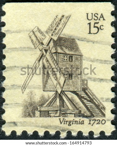 USA - CIRCA 1980: A postage stamp printed in USA, shows Robertson Windmill, Williamsburg, circa 1980 - stock photo