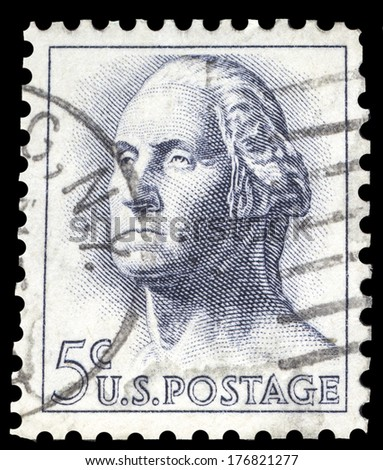 USA-CIRCA 1962: A postage stamp shows image portrait of George Washington the 1st President of the United States of America, circa 1962. - stock photo