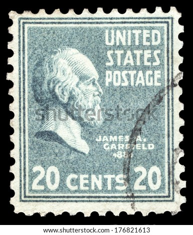 USA-CIRCA 1938: A postage stamp shows image portrait of James Abram Garfield the 20th President of the United States of America, circa 1938. - stock photo