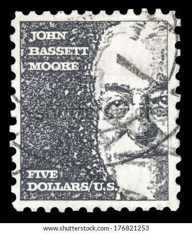 USA-CIRCA 1966: A postage stamp shows image portrait of John Bassett Moore a famous American judge and the first US judge to serve on the Permanent Court of International Justice, circa 1966. - stock photo