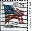 """USA - CIRCA 1993: A stamp printed by USA shows the USA Flag and words """"I pledge allegiance"""", circa 1993 - stock photo"""