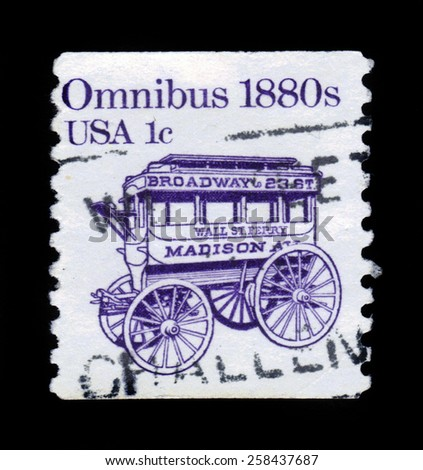 USA - CIRCA 1983: a stamp printed in the USA shows an omnibus in 1880, circa 1983 - stock photo