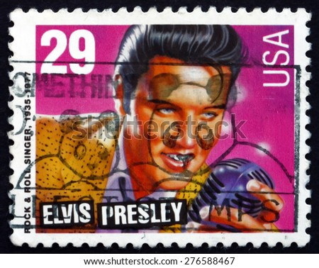 USA - CIRCA 1993: a stamp printed in the USA shows Elvis Presley, American Singer and Actor, the King of Rock and Roll, circa 1993 - stock photo