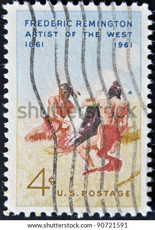 USA - CIRCA 1961: A stamp printed in the USA shows work by Frederic Remington, circa 1961 - stock photo
