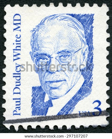 USA - CIRCA 1986: A stamp printed in United States of America shows Paul Dudley White MD (1886-1973), American physician and cardiologist, series Great Americans, circa 1986 - stock photo