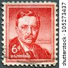 "USA - CIRCA 1955: A stamp printed in United States of America shows Theodore ""Teddy"" Roosevelt (1858-1919) was the 26th President of the United States of America, circa 1955 - stock photo"