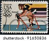 USA - CIRCA 1984: A stamp printed in USA from the Los Angeles Olympics 1984 issue, showing Bicycling, circa 1984. - stock photo