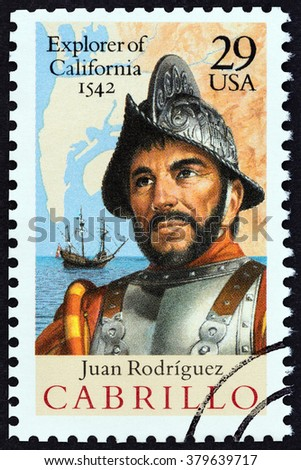 USA - CIRCA 1992: A stamp printed in USA issued for the 450th anniversary of discovery of California by Juan Rodriguez Cabrillo shows Spanish Galleon, Map and Cabrillo, circa 1992. - stock photo