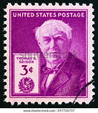 USA - CIRCA 1947: A stamp printed in USA issued for the 100th anniversary of the birth of Thomas A. Edison shows Thomas A. Edison, circa 1947. - stock photo