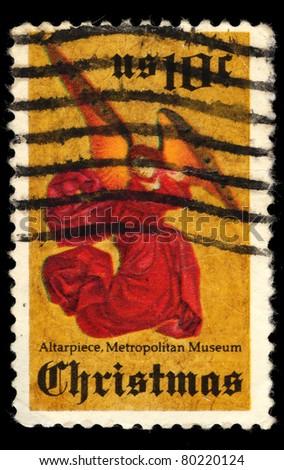 USA - CIRCA 1974: A stamp printed in USA shows Christmas, 10 Cent Angel, circa 1974 - stock photo