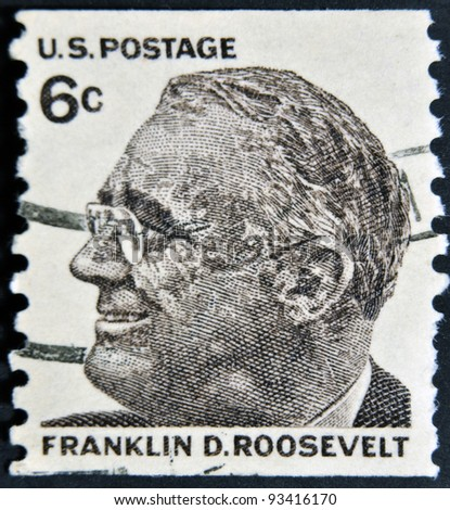 USA-CIRCA 1966:A stamp printed in USA shows image of the Franklin Delano Roosevelt, circa 1966. - stock photo