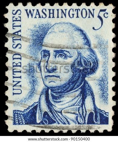 USA-CIRCA 1966: A stamp printed in USA shows image of the George Washington, circa 1966. - stock photo