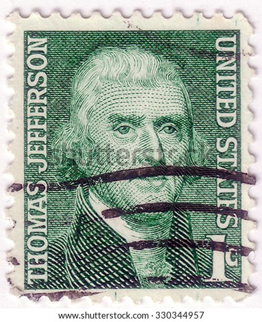 USA-CIRCA 1968:A stamp printed in USA shows image of Thomas Jefferson was the third President of the USA (1801-1809) and the principal author of the Declaration of Independence (1776), circa 1968. - stock photo