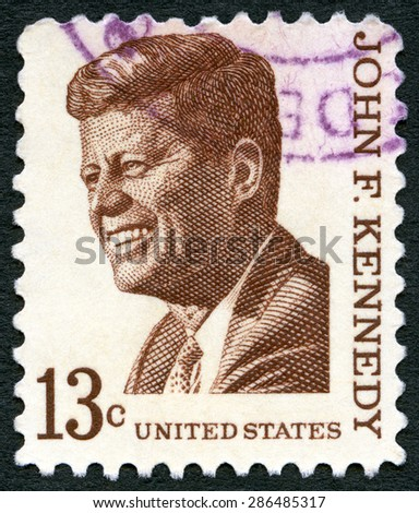 USA - CIRCA 1965: A stamp printed in USA shows John F. Kennedy (1917-1963), series Prominent Americans Issue, circa 1965 - stock photo