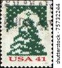 USA - CIRCA 2007: A stamp printed in USA shows Knit Christmas Tree , circa 2007 - stock photo