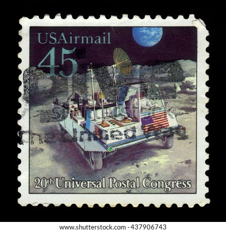 USA - CIRCA 1989: a stamp printed in USA shows moon rover, future mail transportation, 20th Universal Postal Union Congress, circa 1989 - stock photo