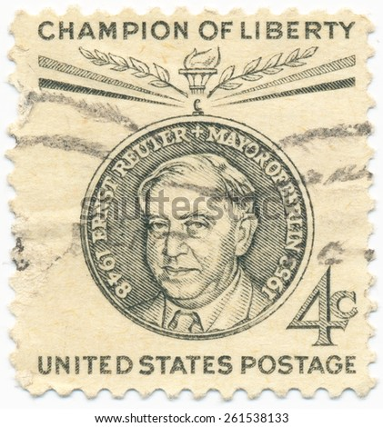 USA - CIRCA 1959: A stamp printed in USA shows portrait of Ernst Reuter (1889-1953) a mayor of West Berlin , circa 1959 - stock photo