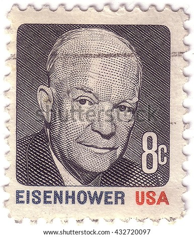 USA - CIRCA 1930: A stamp printed in USA shows Portrait President Dwight David Eisenhower circa 1930. - stock photo