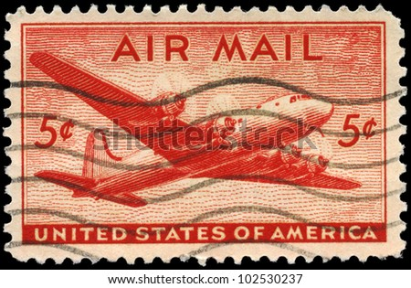 USA - CIRCA 1946: A Stamp printed in USA shows the Douglas DC-4 Skymaster, circa 1946 - stock photo