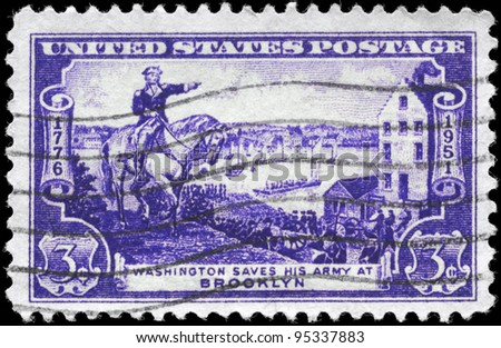 USA - CIRCA 1951: A Stamp printed in USA shows the General George Washington evacuating Army, Battle of Brooklyn Issue, circa 1951 - stock photo