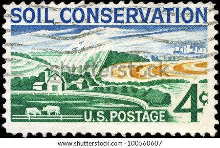 USA - CIRCA 1959: A stamp printed in USA shows the Modern Farm, Soil Conservation Issue, circa 1959 - stock photo