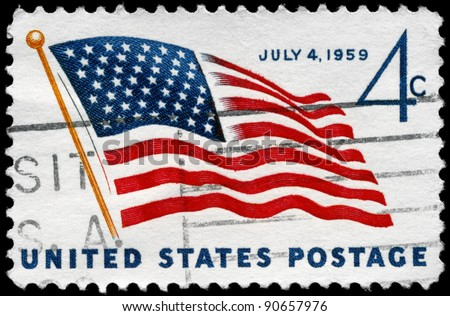 "USA - CIRCA 1959: A stamp printed in USA shows the U.S. Flag, with the inscription ""July 4, 1959"", circa 1959 - stock photo"