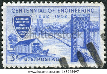 USA - CIRCA 1952: Postage stamp printed in the USA, dedicated to the Cent. of the founding of the American Soc. of Civil Engineers, shows the George Washington Bridge and Covered Bridge, circa 1952 - stock photo